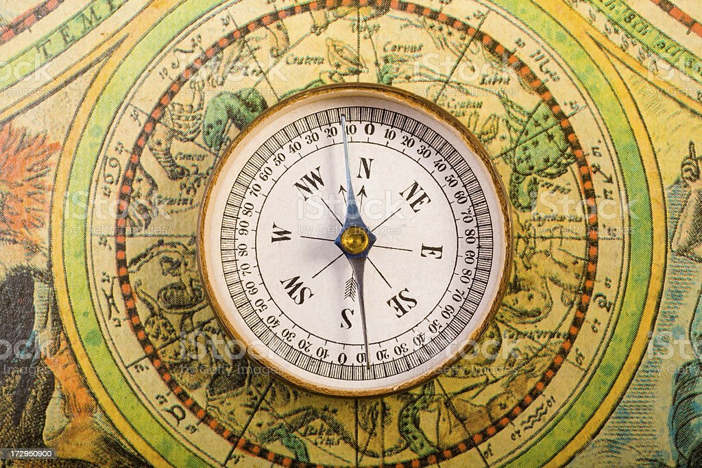 Vintage compass and map.
