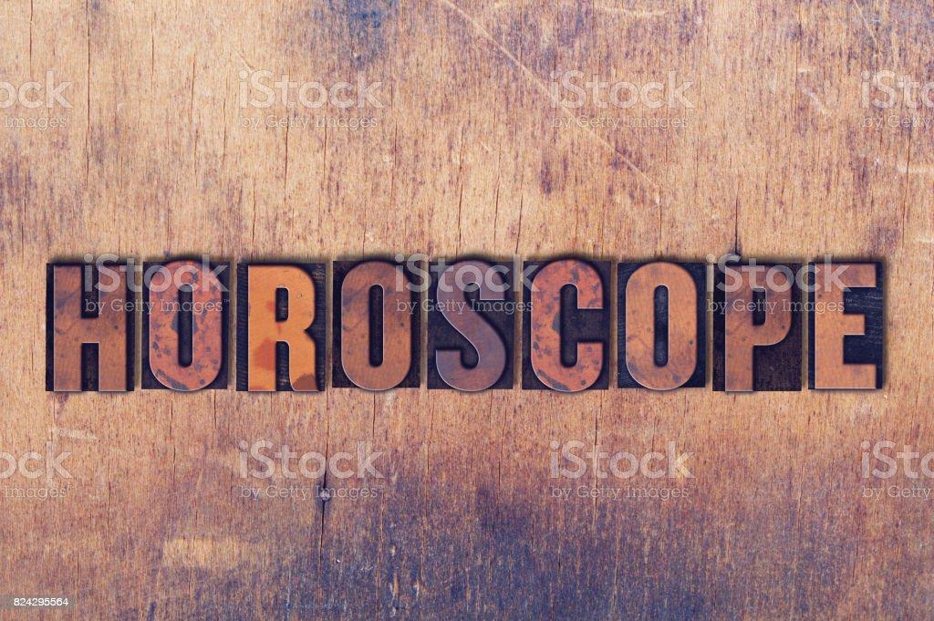 Horoscope Theme Letterpress Word on Wood Background stock photo