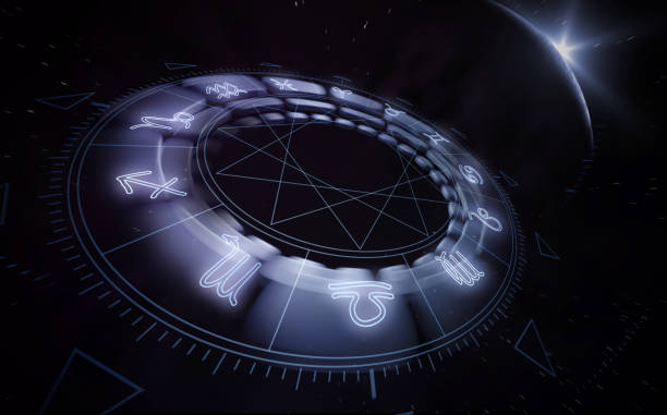 Horoscope wheel 3D render with zodiac signs stock photo