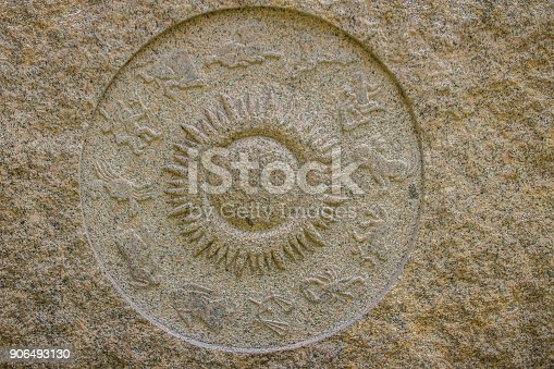 istock Horoscope wheel chart made from marble stone. Ancient stone zodiac wheel with signs around the sun symbol. 906493130