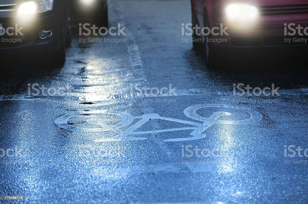 Horrible weather, rain in the evening traffic royalty-free stock photo