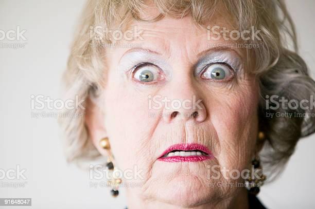 Horrified Senior Woman Stock Photo - Download Image Now