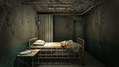 istock horror and creepy ward room in the hospital with blood .3D rendering 1253979238