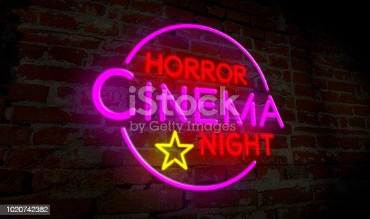 991292404 istock photo Horror cinema night neon 1020742382