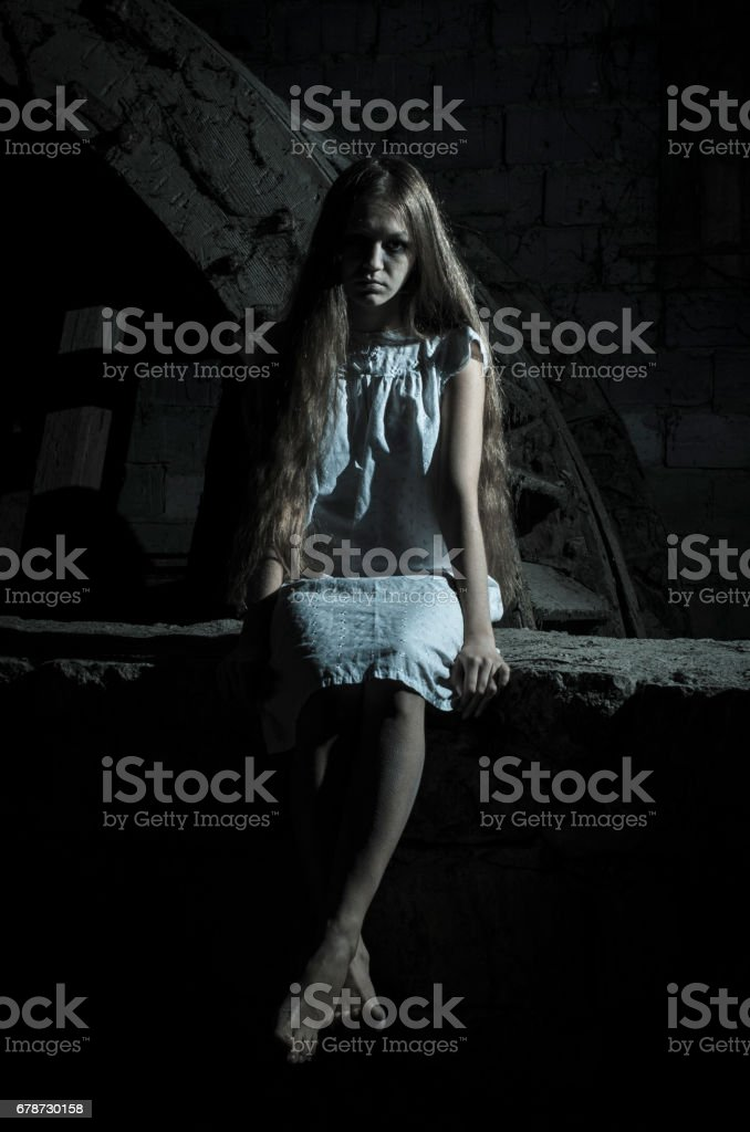 Horror girl in white dress royalty-free stock photo