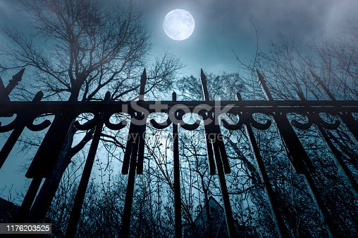 Horror. Iron Fence and Moonlight. Nightmare over abandoned House. Night Time with Fog and Moon.