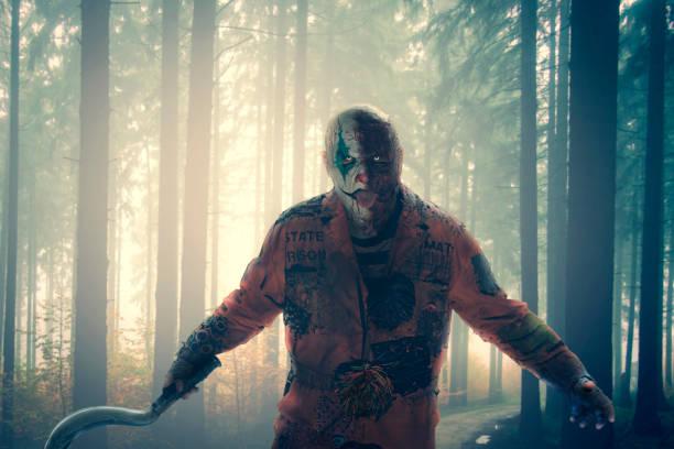 horror killer clown stock photo