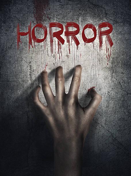 horror-szene. hand auf wand-backround. poster, cover-konzept. - filmplakate stock-fotos und bilder