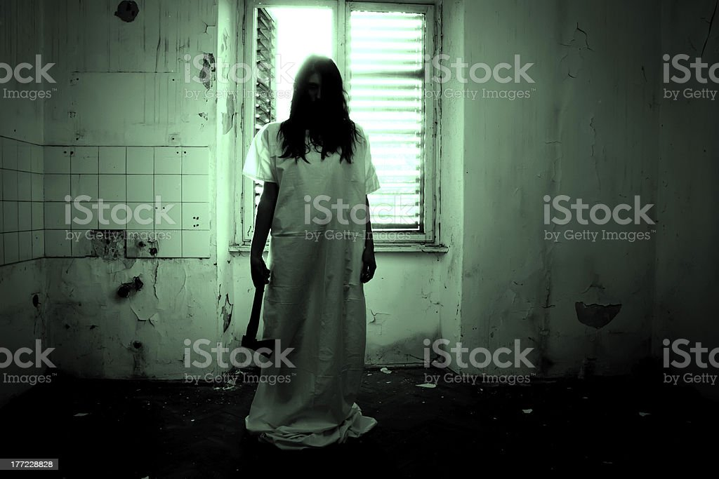 Horror Scene of a Scary Woman stock photo