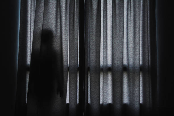 horror scene of woman's shadow standing hiding behind curtain horror scene of woman's shadow standing hiding behind curtain trafficking stock pictures, royalty-free photos & images
