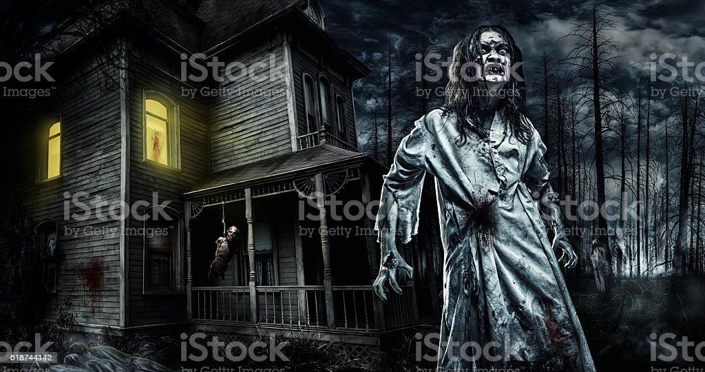 horror zombie near the abandoned house halloween royalty free stock photo