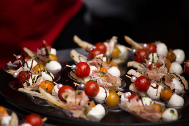 Hors D'Oeuvres Food on a Stick Platter stock photo
