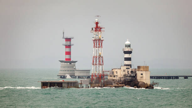 Horsburgh Lighthouse and Malaysian Navy Base stock photo
