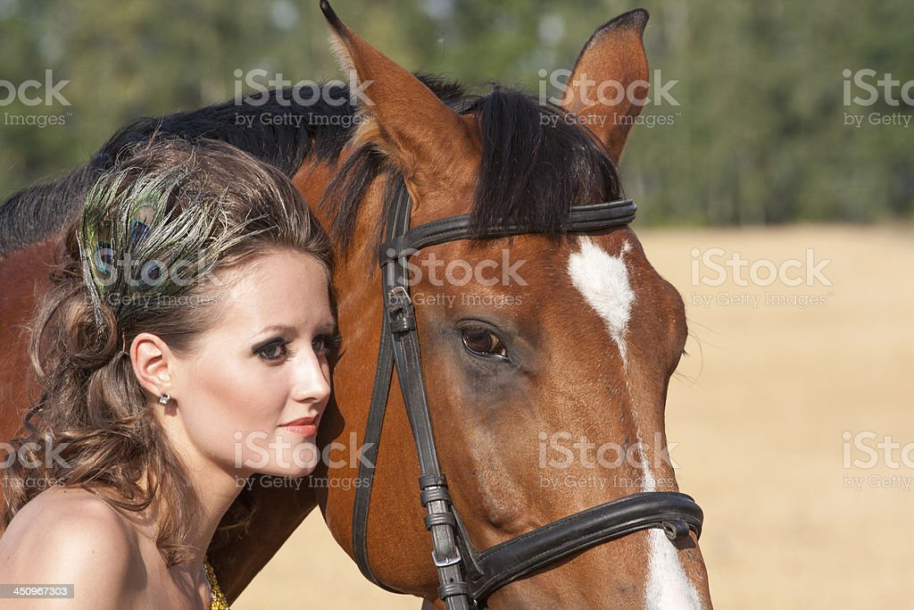 Horse and beatiful woman royalty-free stock photo