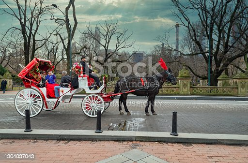 istock A horse and buggy carriage with coachman in Central Park with visitors inside 1304037043