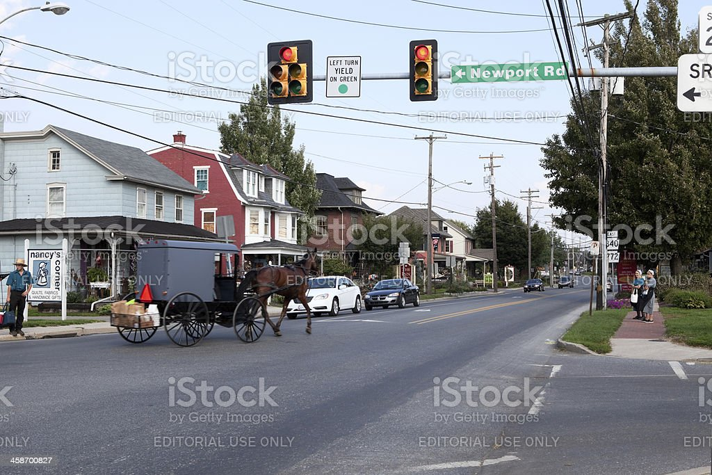 Horse and Buggy in Intercourse, PA stock photo