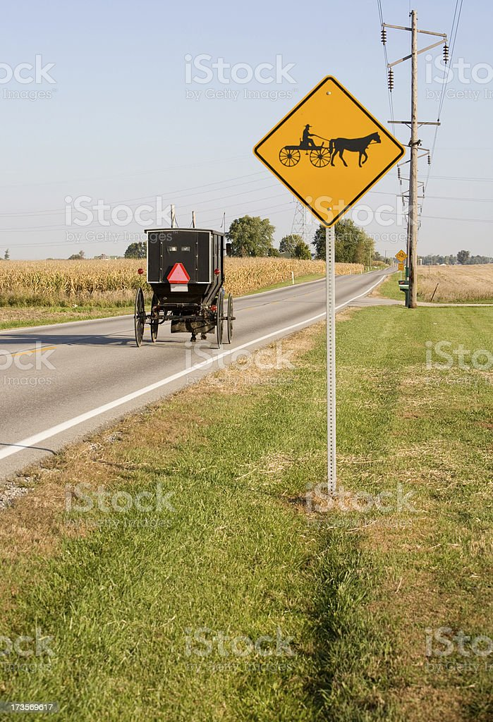 horse and buggy road sign royalty-free stock photo