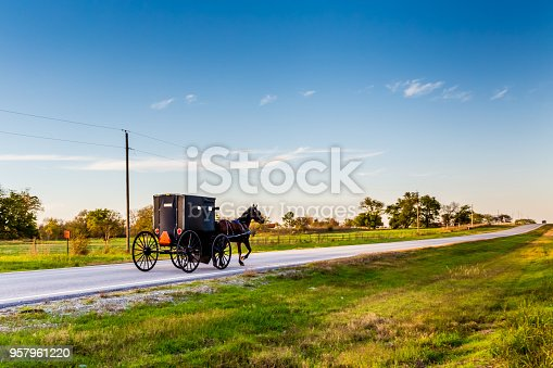 Horse and Buggy on Country Highway in Oklahoma Amish Country