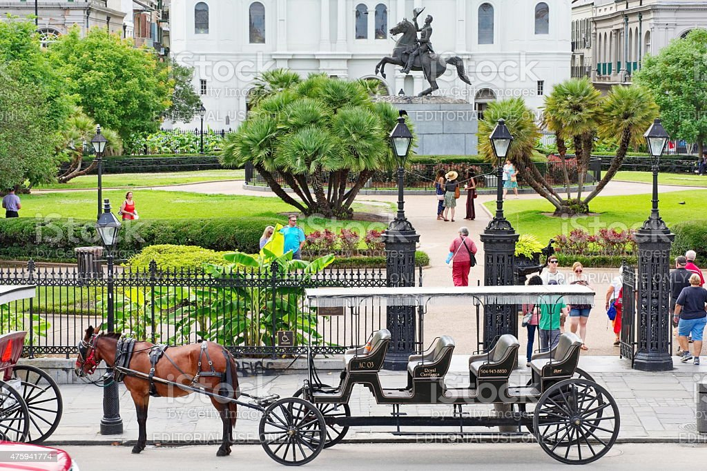 Horse and Carriage Waiting Riders in New Orleans stock photo