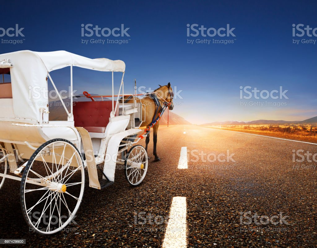 horse and classic fairy tale carriage on asphalt road perspective to beautiful land scape with sun rising sky stock photo