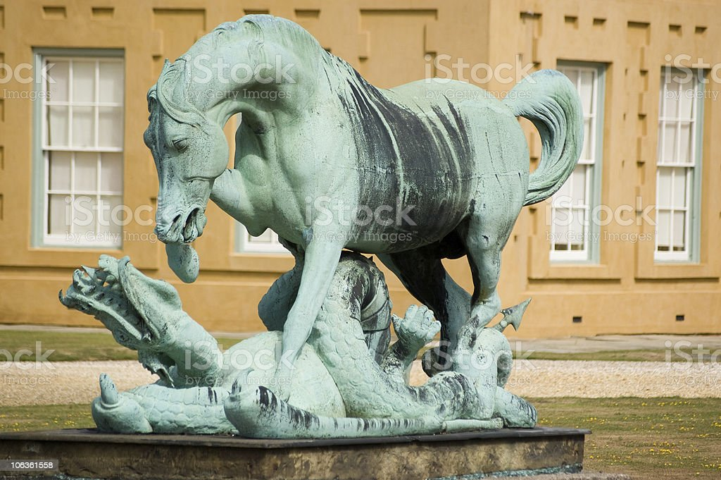 Horse and Dragon statue stock photo