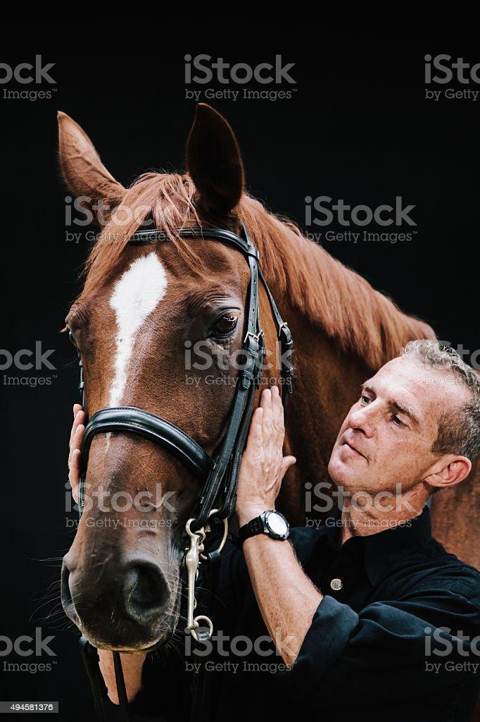 Pferd und Mann Porträt – Foto