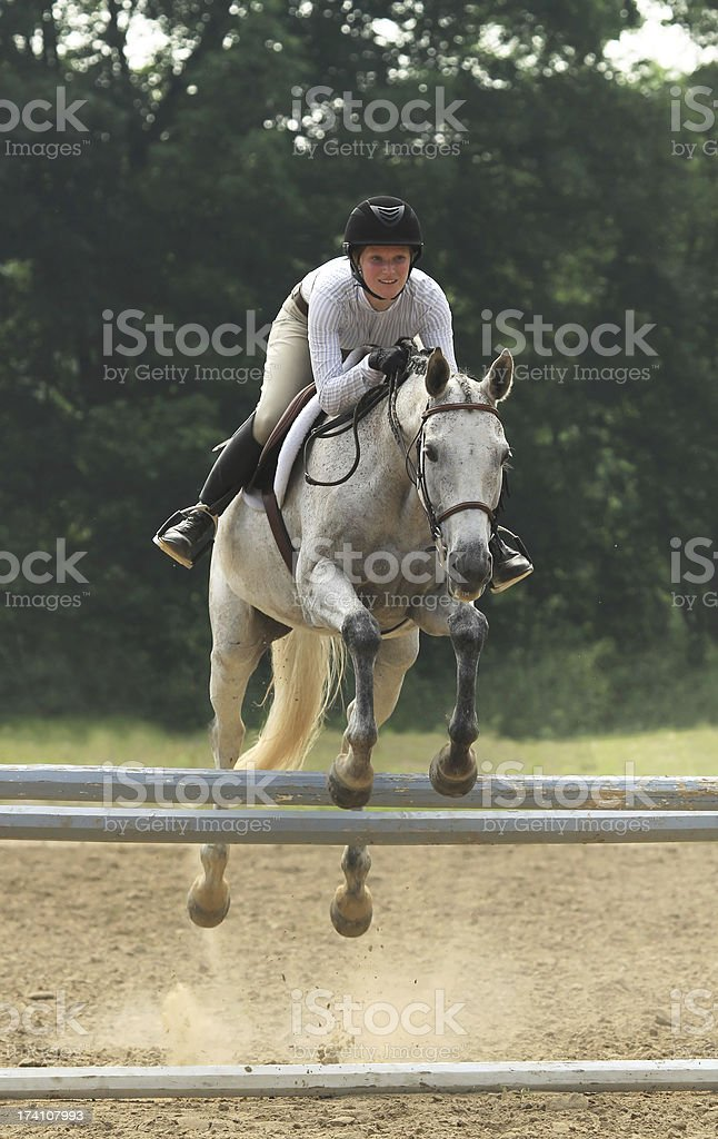 Horse and Rider in Warm up Ring royalty-free stock photo