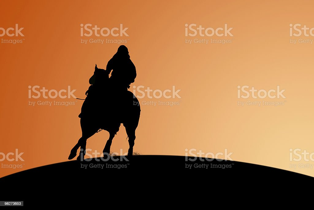 Horse and Rider - Silhouette royalty-free stock photo