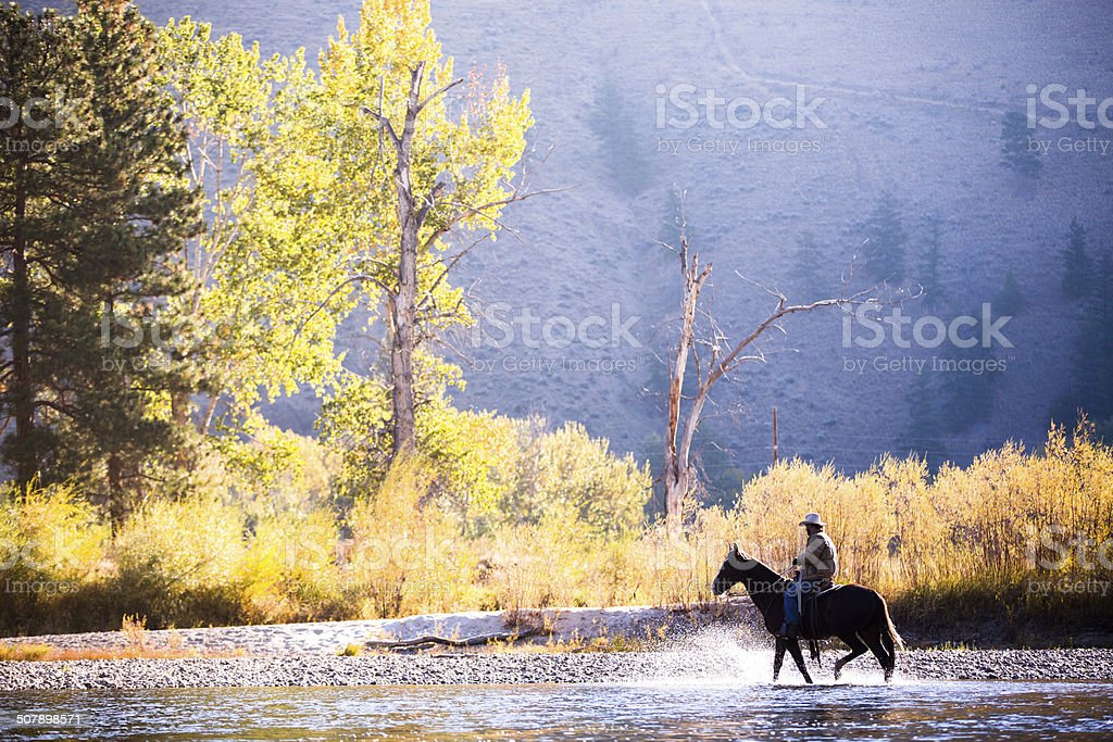 Horse and rider wade in water along western river bank stock photo