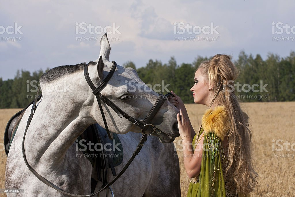 Horse and woman royalty-free stock photo