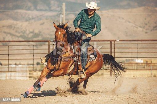 Horse barrel run at the rodeo.