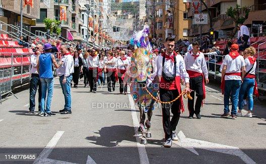 Caravaca de la Cruz, Spain, May 2, 2019: Horse being paraded at Caballos Del Vino, Caravaca de la Cruz, Murcia, Spain