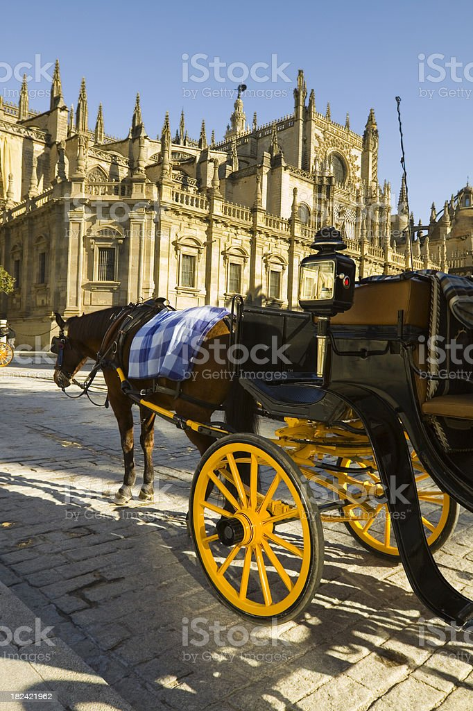 Horse & Carriage at Archbishops Palace stock photo