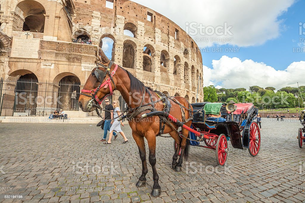 Horse carriage at Colosseo stock photo