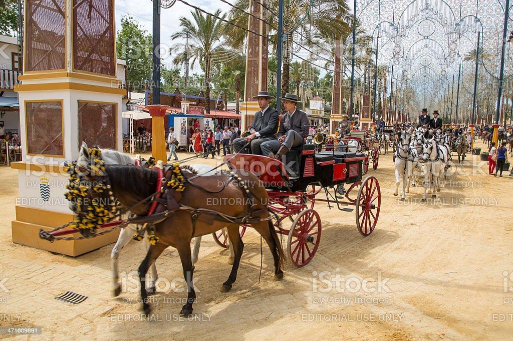 Horse Carriage at the Feria del Caballo, Jerez, Spain stock photo