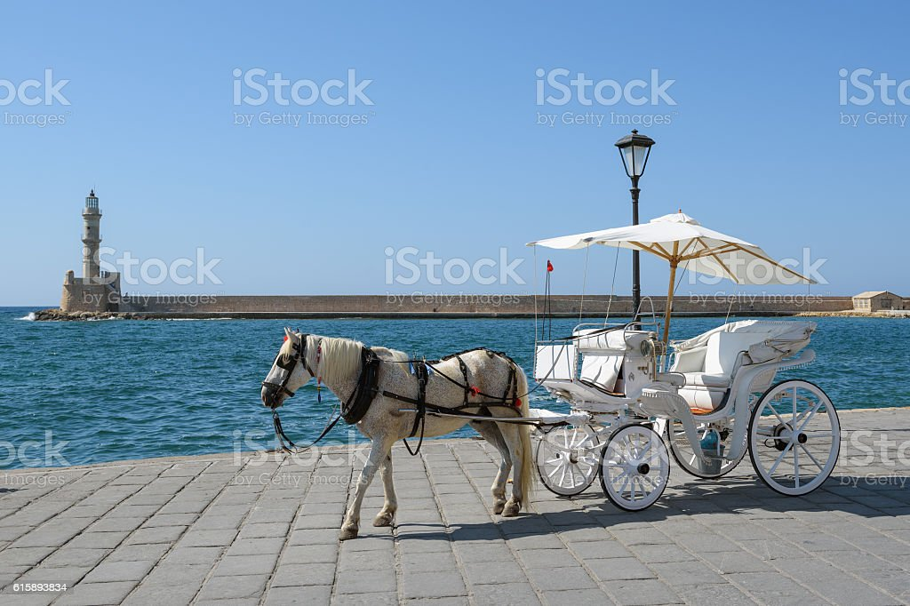 Horse carriage for transporting tourists stock photo