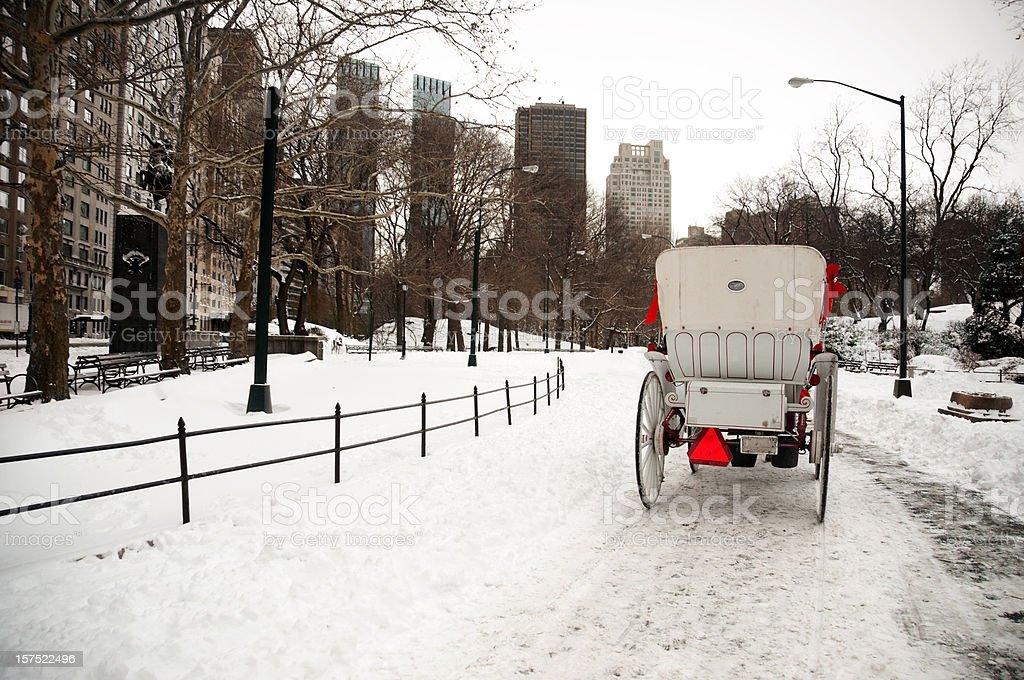 Horse Carriage in Winter Wonderland (Manhattan, New York, USA) royalty-free stock photo