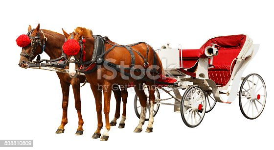 Vintage carriage with horses isolated on white background.