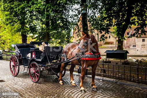 Horse carriage in Bruges city, Belgium
