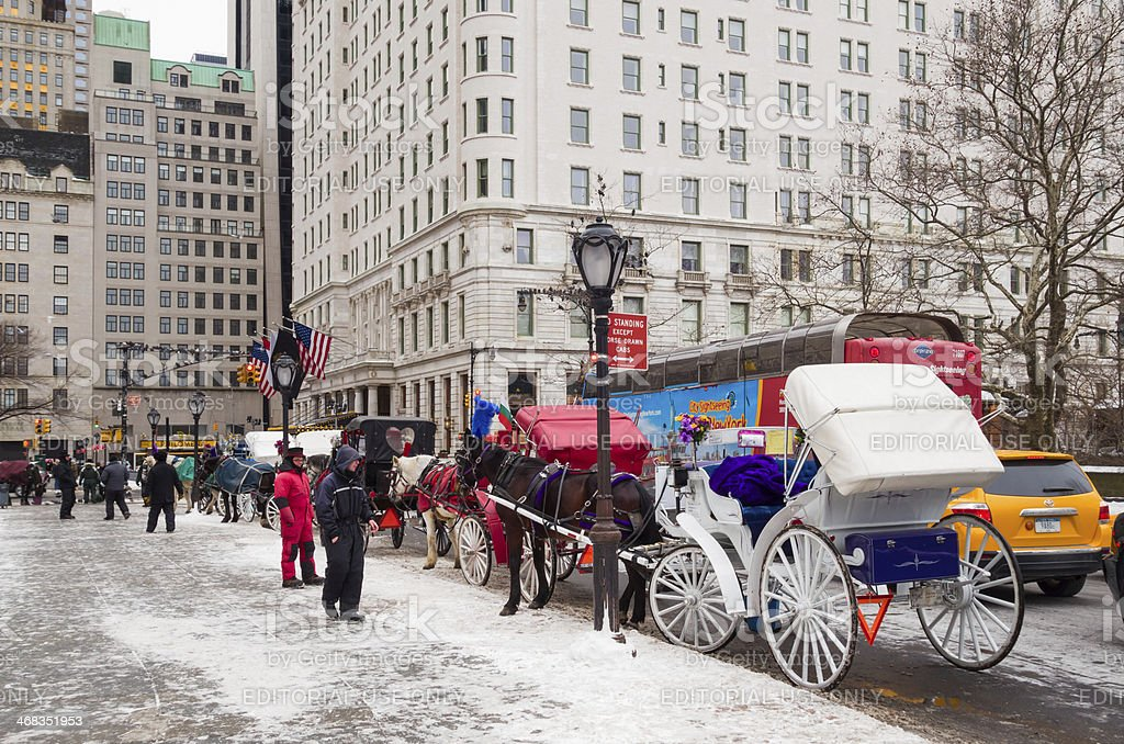 Horse Carriages on Grand Army Plaza, New York City royalty-free stock photo