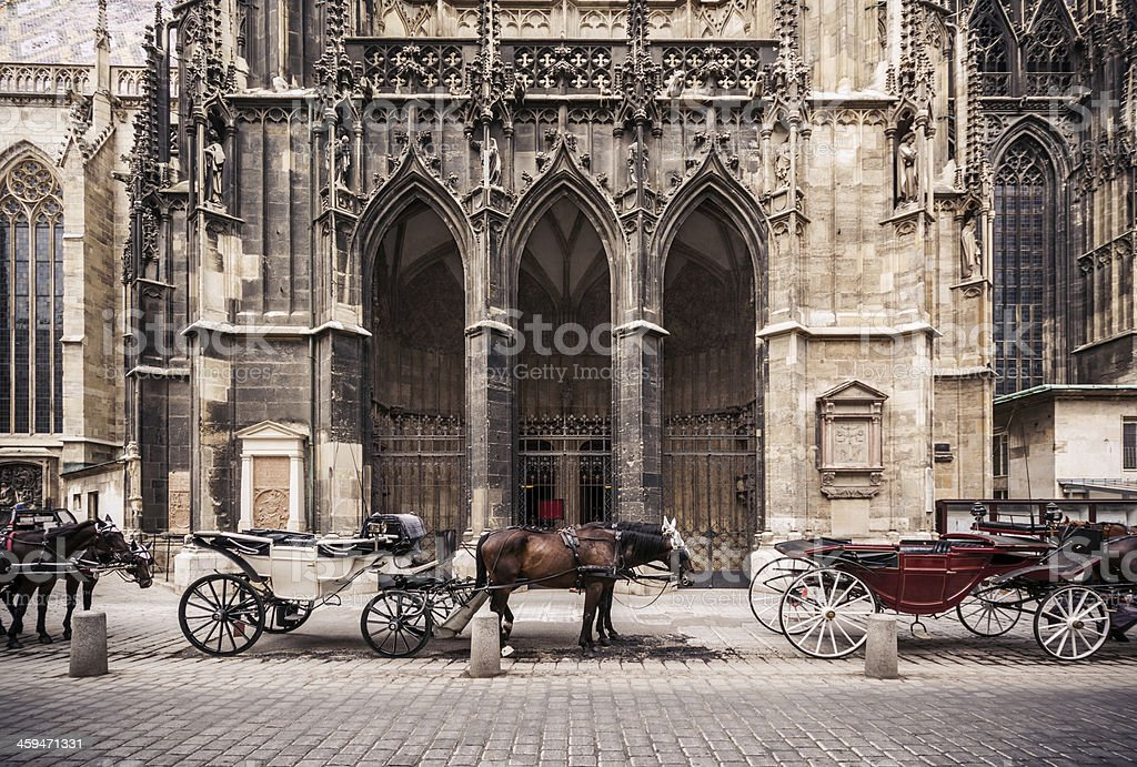 Horse carriages outside St. Stephen's Cathedral in Vienna, Austria stock photo