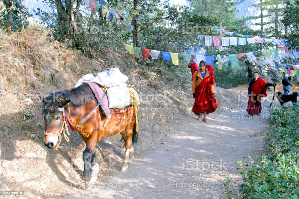 Horse carrying goods and two young monks at trail to Taktshang Goemba or Tiger's nest monastery, Paro, Bhutan royalty-free stock photo