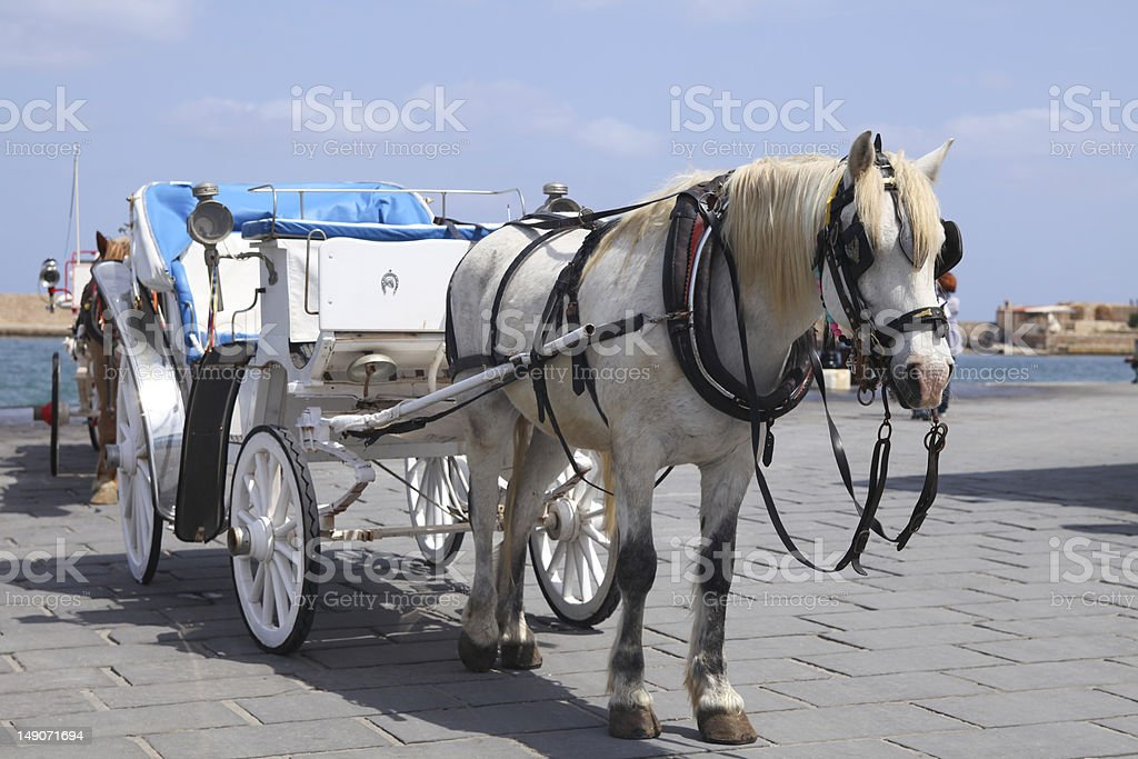 Horse cart for tourists in Xania, Crete royalty-free stock photo