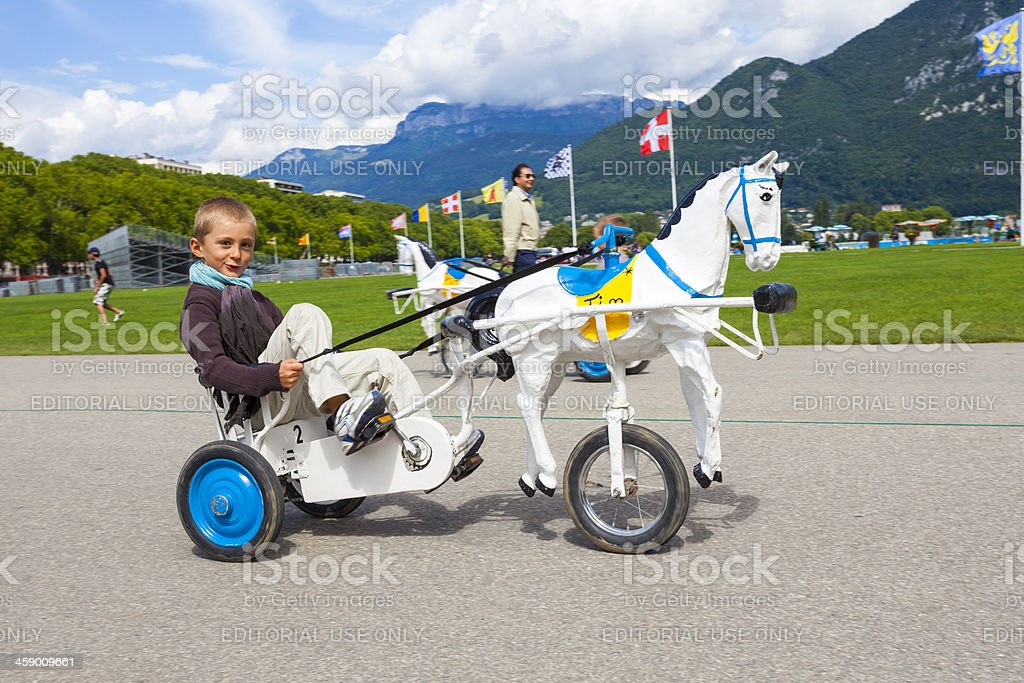 Horse carts in Anncey, France stock photo