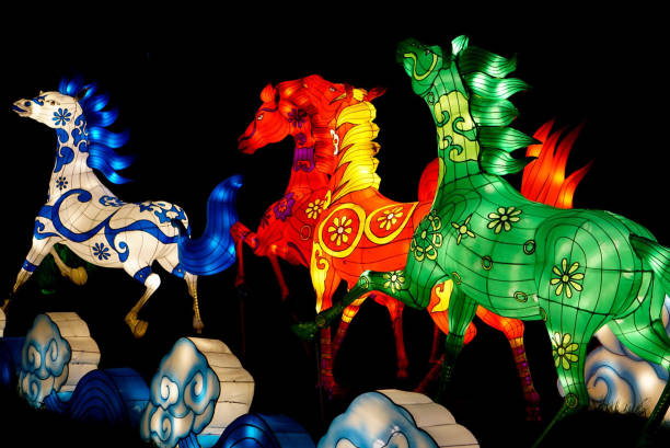 A Horse Display with lights stock photo
