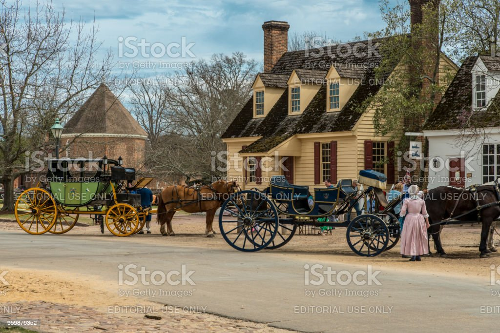 Horse drawn carriage tours in British Colony in Williamsburg, Virginia, USA. stock photo