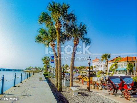 Horse drawn carriage, Matanzas Bay, Anastasia Island, St. Augustine Municipal Marina