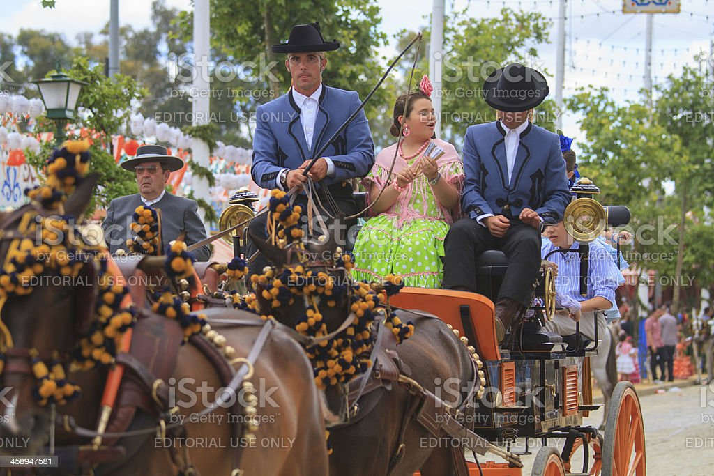 horse drawn carriages on the Fair of Seville royalty-free stock photo
