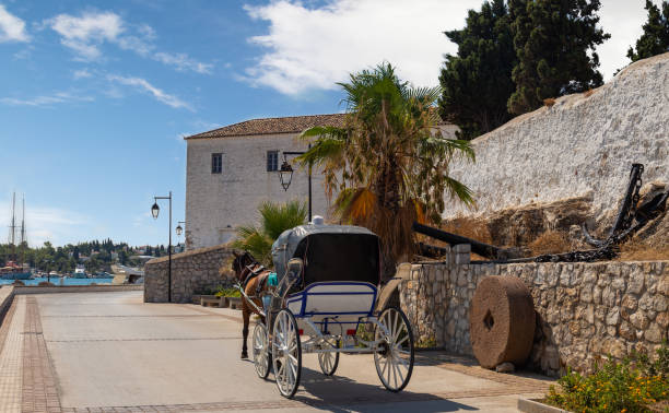 Horse drawn carts, used as taxis on the Greek island of Spetses, Greece stock photo