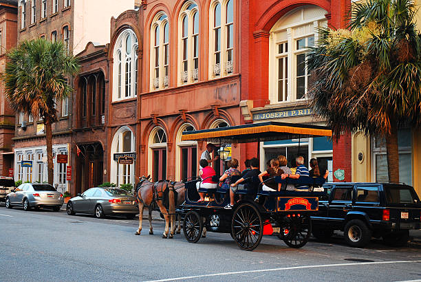 Horse Drawn Touring Charleston, SC, USA - June 23, 2010 southern charm stock pictures, royalty-free photos & images